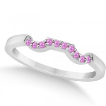Pave Set Pink Sapphire Contour Wedding Band in Platinum (0.15ct)