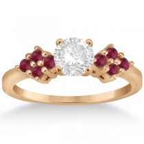 Designer Ruby Cluster Floral Engagement Ring 18k Rose Gold (0.35ct)