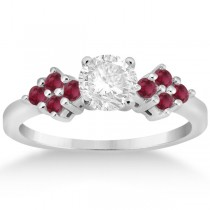 Designer Ruby Cluster Floral Engagement Ring 18k White Gold (0.35ct)