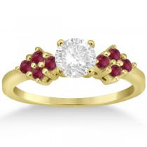 Designer Ruby Cluster Floral Engagement Ring 18k Yellow Gold (0.35ct)
