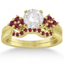Ruby Floral Engagement Ring & Wedding Band 14k Yellow Gold (0.50ct)