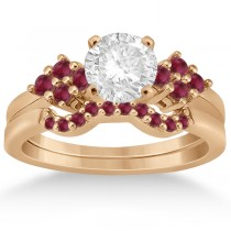 Ruby Floral Engagement Ring & Wedding Band 18k Rose Gold (0.50ct)