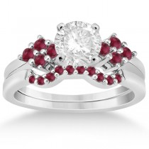 Ruby Floral Engagement Ring & Wedding Band 18k White Gold (0.50ct)