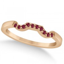 Pave Set Ruby Contour Style Wedding Band in 14k Rose Gold (0.15ct)