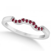 Pave Set Ruby Contour Style Wedding Band 14k White Gold (0.15ct)