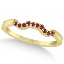 Pave Set Ruby Contour Style Wedding Band 14k Yellow Gold (0.15ct)