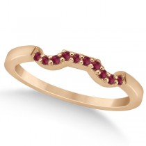 Pave Set Ruby Contour Style Wedding Band in 18k Rose Gold (0.15ct)
