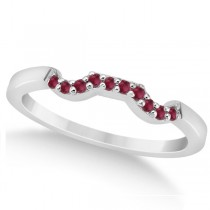 Pave Set Ruby Contour Style Wedding Band 18k White Gold (0.15ct)