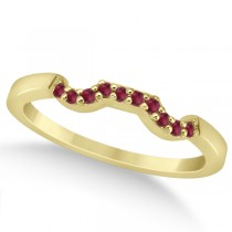 Pave Set Ruby Contour Style Wedding Band 18k Yellow Gold (0.15ct)