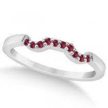 Pave Set Ruby Contour Style Floral Wedding Band in Platinum (0.15ct)