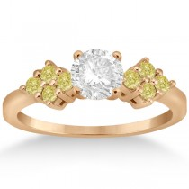 Designer Yellow Diamond Floral Engagement Ring 18k Rose Gold (0.24ct)