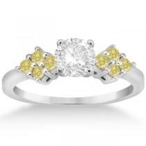 Designer Yellow Diamond Floral Engagement Ring 18k White Gold (0.24ct)