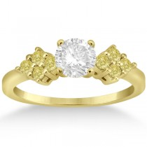 Designer Yellow Diamond Floral Engagement Ring 18k Yellow Gold 0.24ct