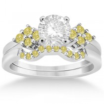 Yellow Diamond Engagement Ring & Wedding Band 14k White Gold (0.34ct)