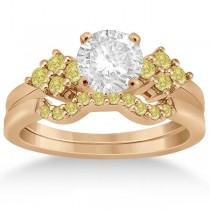 Yellow Diamond Engagement Ring & Wedding Band 18k Rose Gold (0.34ct)