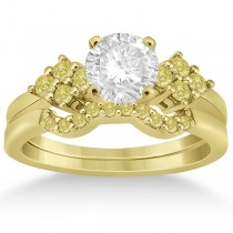 Yellow Diamond Engagement Ring & Wedding Band 18k Yellow Gold (0.34ct)