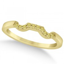 Pave Set Yellow Diamond Contour Wedding Band 14k Yellow Gold (0.10ct)