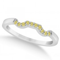 Pave Set Yellow Diamond Contour Wedding Band 18k White Gold (0.10ct)