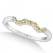 Pave Set Yellow Diamond Contour Wedding Band in Platinum (0.10ct)