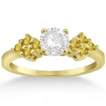 Designer Yellow Sapphire Floral Engagement Ring 18k Yellow Gold (0.35ct)