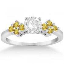 Designer Yellow Sapphire Floral Engagement Ring in Platinum (0.35ct)