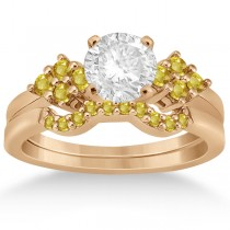 Yellow Sapphire Engagement Ring & Wedding Band 18k Rose Gold (0.50ct)