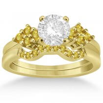 Yellow Sapphire Engagement Ring & Wedding Band 18k Yellow Gold 0.50ct