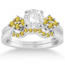 Yellow Sapphire Engagement Ring & Wedding Band in Platinum (0.50ct)