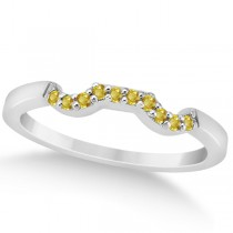 Pave Set Yellow Sapphire Contour Wedding Band 14k White Gold (0.15ct)
