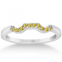 Pave Set Yellow Sapphire Contour Wedding Band 18k White Gold (0.15ct)