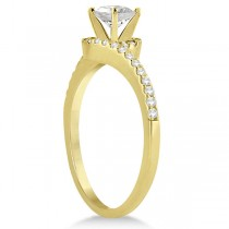 Halo Diamond Twist Engagement Ring Setting 14k Yellow Gold (0.16ct)