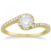 Halo Diamond Twist Engagement Ring Setting 18k Yellow Gold (0.16ct)