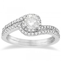Halo Twist Diamond Bridal Set Ring & Band Palladium (0.28ct)