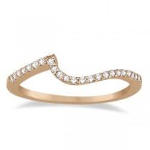 Petite Contour Diamond Wedding Band Swirl Ring 14k Rose Gold (0.12ct)
