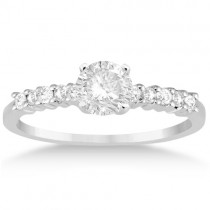 Petite Diamond Engagement Ring Setting 14k White Gold (0.15ct)