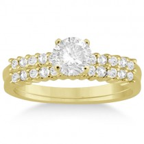 Petite Diamond Bridal Ring Set 14k Yellow Gold (0.35ct)