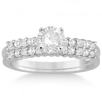 Petite Diamond Bridal Ring Set 18k White Gold (0.35ct)