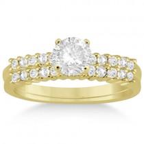 Petite Diamond Bridal Ring Set 18k Yellow Gold (0.35ct)