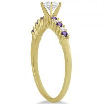 Petite Diamond & Amethyst Engagement Ring 14k Yellow Gold (0.15ct)