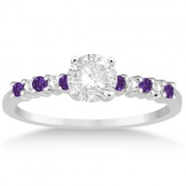 Petite Diamond & Amethyst Engagement Ring 18k White Gold (0.15ct)
