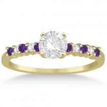 Petite Diamond & Amethyst Engagement Ring 18k Yellow Gold (0.15ct)