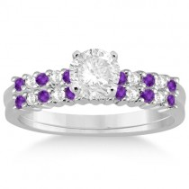 Petite Diamond & Amethyst Bridal Set 14k White Gold (0.35ct)
