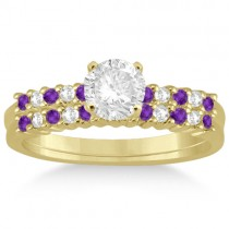 Petite Diamond & Amethyst Bridal Set 14k Yellow Gold (0.35ct)