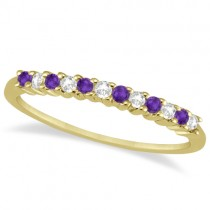 Petite Diamond & Amethyst Wedding Band 14k Yellow Gold (0.20ct)