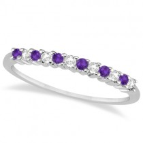 Petite Diamond & Amethyst Wedding Band 18k White Gold (0.20ct)