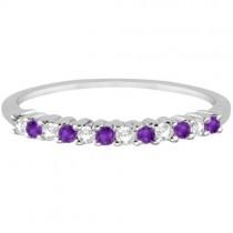 Petite Diamond & Amethyst Wedding Band 18k White Gold (0.20ct)