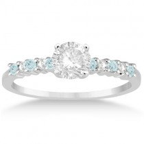 Petite Diamond & Aquamarine Engagement Ring 14k White Gold (0.15ct)