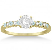 Petite Diamond & Aquamarine Engagement Ring 14k Yellow Gold (0.15ct)