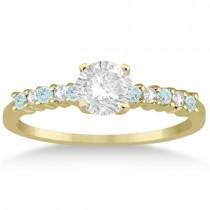 Petite Diamond & Aquamarine Engagement Ring 18k Yellow Gold (0.15ct)