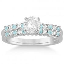 Petite Diamond & Aquamarine Bridal Set 14k White Gold (0.35ct)